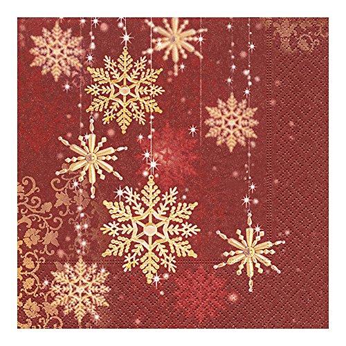 viette 33 x 33 cm (Golden snowflakes) Schneeflocke gold Weihnachten Winter Schnee Tiere Wald Schneemann Merry Christmas ()