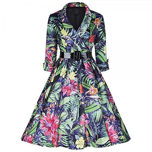 Pinkyee Damen A-Linie Kleid Grün