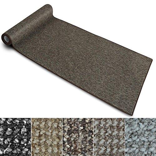 Teppich Läufer Carlton   Flachgewebe dezent gemustert   Teppichläufer in vielen Größen   als Küchenläufer, Flurläufer   mit Stufenmatten kombinierbar (Braun - 80x200 cm)