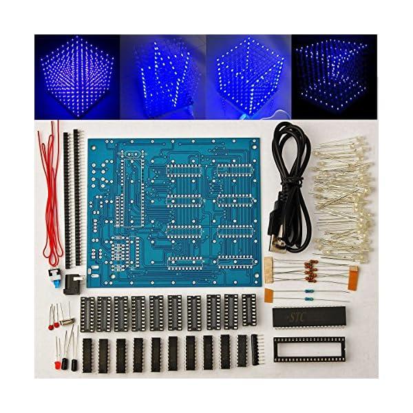 61NHXXyqR8L. SS600  - Arduino DIY sansido 8x 8x 8LED Cube 3d Square Kit de electrónica de soldadura Sarter Junta de luz (LED azul)