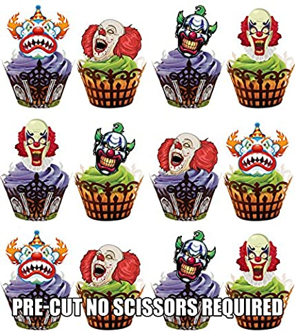 PRE-CUT Halloween Scary Clown Faces Party Pack Edible Cupcake Toppers / Cake Decorations (Pack of