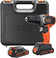 Black+Decker Hammer Drill 18V + 2 x 1.5Ah Battery Kitbox, BCD003C2K-GB
