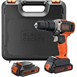 Black+Decker 18V 1.5Ah 650 RPM Combi Hammer Drill with 2 Batteries in Kitbox for Metal, Wod & Masonry Drilling & Screwdriving
