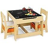 GOPLUS Ensemble Table et 2 Chaises pour Enfants, Table Double Face-Tableau Noir, Chaises avec 2 Boîtes de Rangement, Table de
