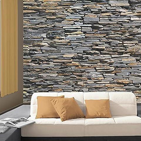 Walplus NQ-MJZI-RWX9 - Mural de pared, diseño piedra Graphite, 400 x 280 cm