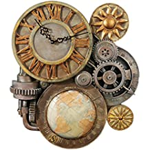 Design Toscano NG33981 Ingranaggi del Tempo Orologio da Parete Scultorea, Multicolore
