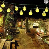 ELINKUME LED Solar Lichterkette 6 Meter 30 LED Warmweiß Kristall Ball Solarbetrieben Weltkugel Lichterkette für Garden Weg Landschaft Dekoration Party, Weihnachten, Hochzeit New Year Indoor & Outdoor