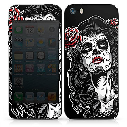 Apple iPhone SE Case Skin Sticker aus Vinyl-Folie Aufkleber Zombie Catrina Halloween DesignSkins® glänzend