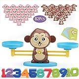 Juguete de Matemáticas, 82 pcs Monkey Digital Scales Balance Tarjetas de Matemáticas Bloque Digital Juego Educativo Juegos de