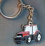 Metall Emaille Schlüsselanhänger rot Farm Traktor Bagger