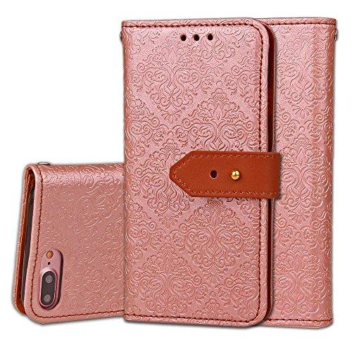 IPhone 7 Plus Case, Europäische Retro Style Wandbilder Pattern Buckle Flip PU Leder Brieftasche Etui Für IPhone 7 Plus ( Color : Rose ) Rose Gold