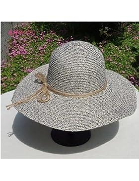 LVLIDAN Sombrero para el sol del verano Lady Anti-sol gran lado ancho del sombrero de paja plegable gris