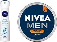 Nivea Fresh Natural Deodorant For Women, 150ml & MEN Cream, Dark Spot Reduction, 75ml Combo