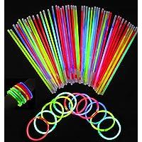 Pack de 100 Varitas Luminosas Varitas Luminosas Fluorescentes Kits de Barritas Fluorescentes, Fluorescente Brillante, Kit de Luz Fluorescente para Fiestas, Cumpleaños, Bodas