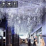 BLOOMWIN Tenda Luminosa 8 modalità 6V a Bassa Tensione 6M * 1M 300 LEDs USB Luci Stringa Funzione Timer con Telecomando con Ganci per Natale Finestra Anniversario Casa Giardino Bainco