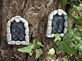 Pair of Arched Stone Fairy Windows Perfect to accompany your fairy door or add to your fairy garden
