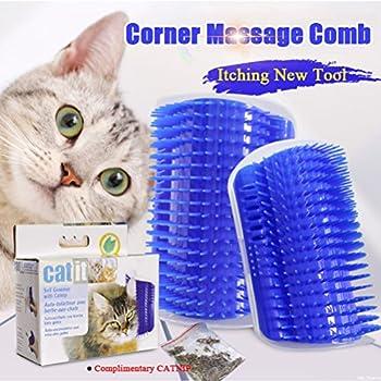 Huuiy Brosse d?angle de toilettage et massage pour chat avec herbe à chat, 12,7 x 8,5 x 4,7 cm