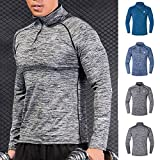 B-commerce Herren Fitness Training Bekleidung - Langarm Outdoor Bergsteigen Top Camping Yoga Gym Athletic 1/4 Stehkragen