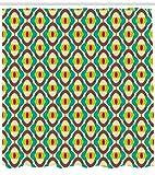 Abakuhaus Jahrgang Duschvorhang, Groovy Bauhaus-Kunst-Fliese, Wasser Blickdicht inkl.12 Ringe Langhaltig Bakterie und Schimmel Resistent, 175 x 240 cm, Multicolor