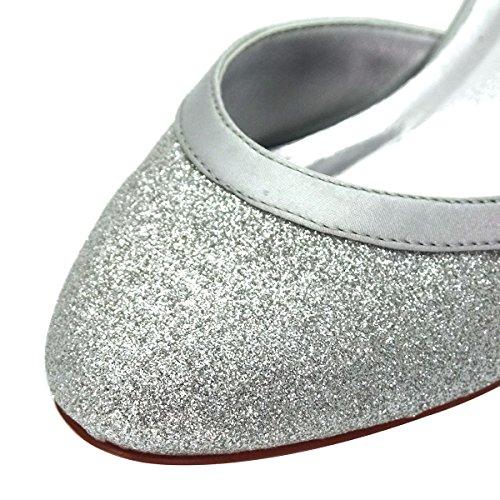 ElegantPark HC1510 Runde Zehen Hoch Absatz Schnalle Pumps Glitter PU Silber Party Tanzschuhe Damen Brautschuhe Gr.41 - 5