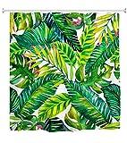 Best Leaf Curtains - goodbath Banana Leaf Shower Curtain, Tropical Palm Leaves Review