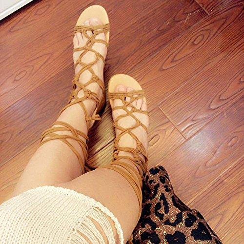 Longra Donna cinghie incrociate con sandali piatti a Roma Marrone