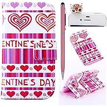 Felfy Love Hearts Patrón PU Cuero Billetera Funda Flip Carcasa Para Samsung Galaxy S3 i9300 + 1x Rojo Búho Enchufe del Polvo + 1x Rosa Lápiz Táctil
