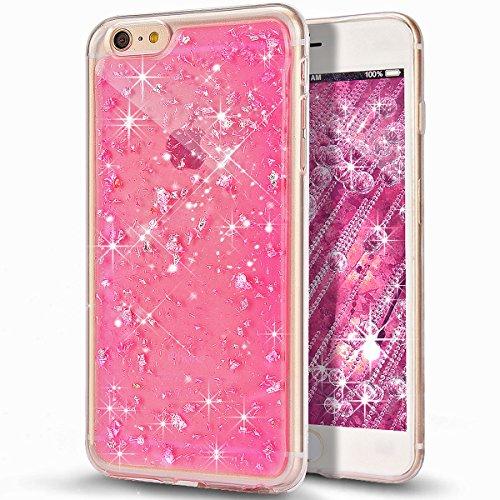 Custodia iPhone 6S Plus, Custodia iPhone 6 Plus, Case Cover per iPhone 6S Plus / 6 Plus, ikasus® Shiny Sparkly Bling Bling Glitter iPhone 6S Plus / 6 Plus Custodia Cover [Crystal TPU] [Shock-Absorptio Rosa Scintillio Bling