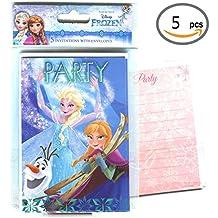 5tarjetas de invitaciones con 5sobres), variantes: Cars, princesas, Frozen Frozen, color La reine des neiges, Olaf, Elsa, Anna
