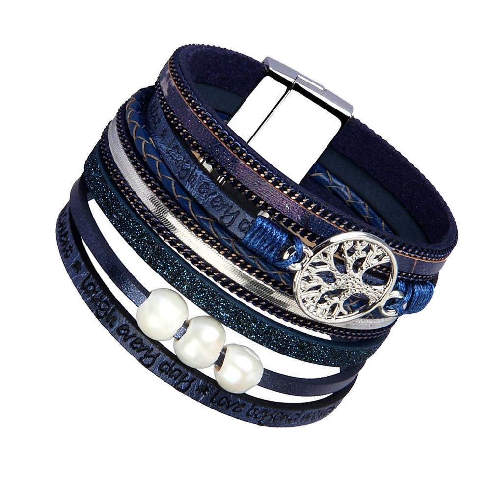 Adolescentes JAOYU Bracelet Manchette Cuir Femmes Wrap Bracelet Plume Bijoux Bracelet Fait Main Cadeaux pour Soeur