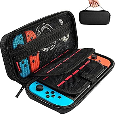 Nintendo Switch Case with 20 Game Cartridges, Protective Hard Shell Travel Carrying Case Pouch for Nintendo Switch Console & Accessories by Deruitu, Black by Jusoney