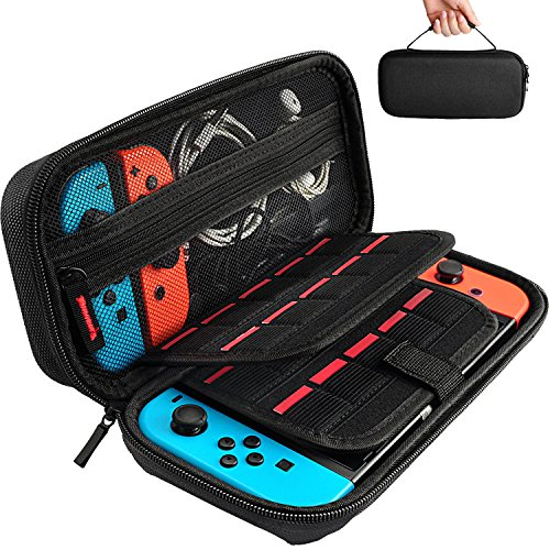 Tasche für Nintendo Switch - Harte Schutzhülle auf die Reise für Nintendo Switch, Aufbewahrung von 20 Spiele, Konsole & Zubehör von Hestia Goods