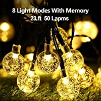 ACGAM Solar String Lights,Outdoor String Lights 50 LED 23Ft 8 Lighting Modes Waterproof Solar Lights Crystal Ball Lighting for Patio, Lawn, Garden, Wedding, Party, Christmas Decorations,Warm White