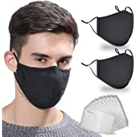 HIVEHYPE Cotton_Face_Mask, 2 Cotton Breathable_Face_Mask with activated 10 PCS Carbon Filter Replaceable Filters…