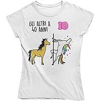Vulfire Maglietta da Donna Idea Regalo per Compleanno, Regalo 40 Anni, Festa dei 40 Anni, quarant'anni t Shirt Unicorno