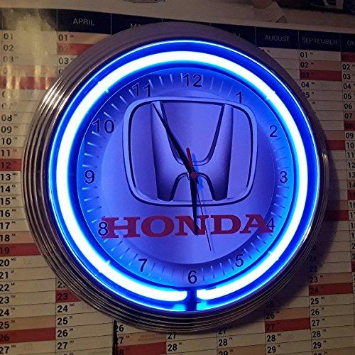 Auto Honda Uhr (NEONUHR NEON CLOCK HONDA AUTO SIGN GARAGE WANDUHR BELEUCHTET MIT BLAUEN NEON RING)