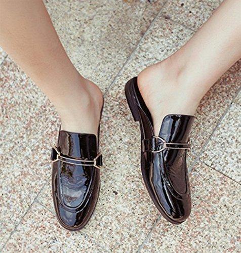 Backless Schuhe faul Frau weibliche Sommer Sandalen und Pantoffeln Black