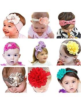 JMITHA 9 piezas Recién nacido y bebés del pelo de la venda Bebé flor pelo diadema