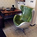 Pre-Order Verde Piel/Aluminio EggChair (réplica) Silla giratoria sillón Aluminio-Club sillas-Silla de salón