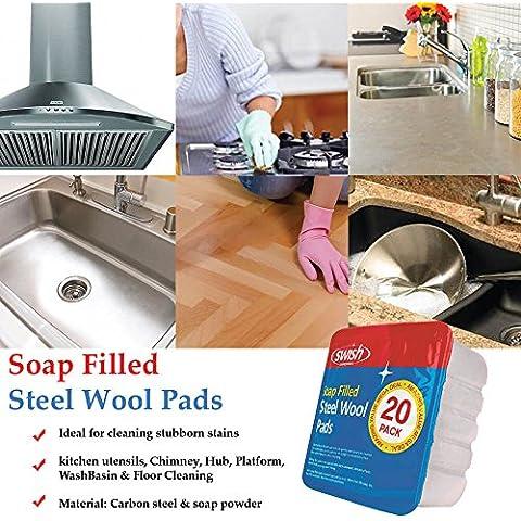 Jabón relleno almohadillas de lana de acero–simplemente añade humedad para uso