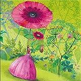Quadratische Postkarte Mila Marquis * Frau im Blumengarten
