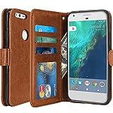 Google Pixel Hülle, LK Luxus PU Leder Brieftasche Flip Case Cover Schütz Hülle Abdeckung Ledertasche für Google Pixel (Braun)