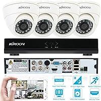 KKmoon 4ch Canale Completo 960H/D1 800TVL CCTV Sorveglianza DVR Sistema di Sicurezza P2P Cloud Network Digitale Video Registratore + 4*Telecamera Interno + 4*60 Piedi Cavo