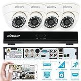 KKMOON 4CH CCTV Surveillance DVR Security System  Voll 960H/D1 800TVL  P2P Cloud Netzwerk Digitalrekorder + 4 * Innenkamera + 4 * 60ft Kabel