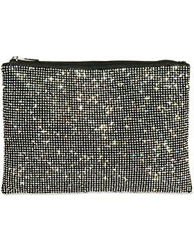 CASPAR TA348 Damen elegante XL Clutch Tasche Abendtasche mit Glitzer Strass und Handschlaufe