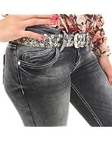 Coole Damen Jeans von Cipo & Baxx mit Stretch und weißen Nähten schwarz mit weißem Verlauf