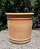 Kreta Keramik handgefertigter Terracotta Topf Pflanzgefäß, absolut frostfest, Übertopf zum Bepflanzen für den Innen- und Außenbereich, Canna (40 cm)