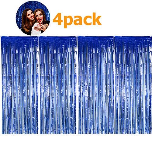 SANCUANYI (1m x 2.5m) 4 Stück Lametta Vorhänge Dekoration Folie Vorhang Glitzer Deko Glänzende Fransenvorhang Fransen für Hochzeit Disco Geburtstagsdekoration DIY Party Favor Dekorationen (Blau)