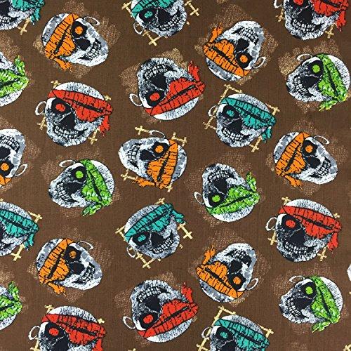 Schlafanzug Bandana (Braun Halloween Bandana SKULLS 100% Baumwolle gedruckt Stoff für,, Kleid 152,4cm 150cm breit–Meterware)