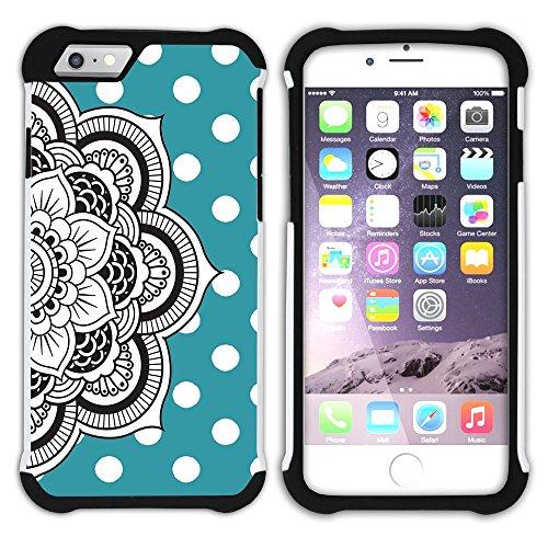 Graphic4You Mandala Blume Punktmuster Tupfen Muster (Lila) Hart + Weiche Kratzfeste Hülle Case Schale Tasche Schutzhülle für Apple iPhone 6 / 6S Türkis